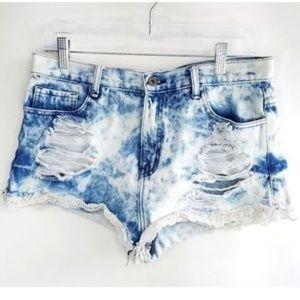 Boho Acid Wash Destroyed Denim Shorts Lace Hem